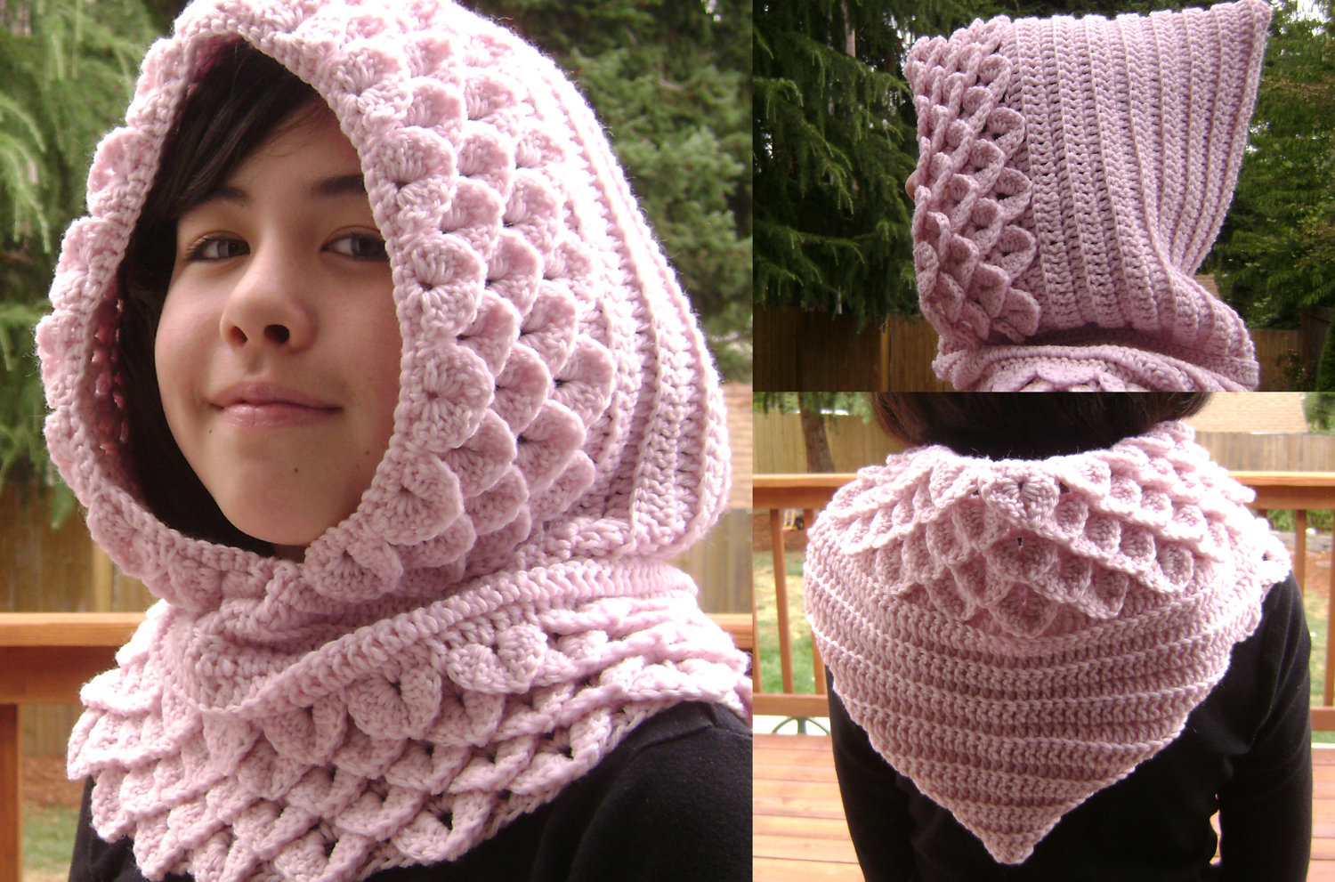 Nice Hooded Cowl Knit Pattern Illustration - Sewing Pattern for ...